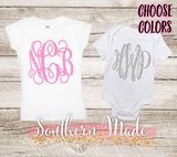 Monogrammed Shirt - Choose Font and Color - Toddler Tee or Oneise - Short or Long Sleeve