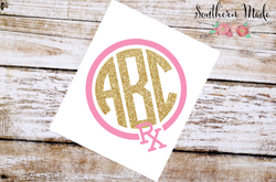 Pharmacist Monogram Glitter Vinyl Decal, Custom Initials, Glitter Sticker, RX, Circle Monogram, Pharmacy Tech
