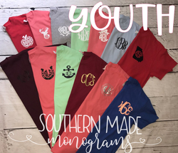 Youth Pocket Area Monogrammed Shirt - Short or Long Sleeve