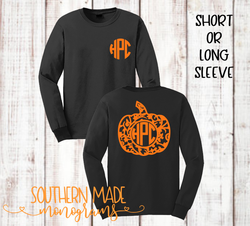 Swirly Pumpkin Monogram Tee - Short or Long Sleeve - Choose all colors