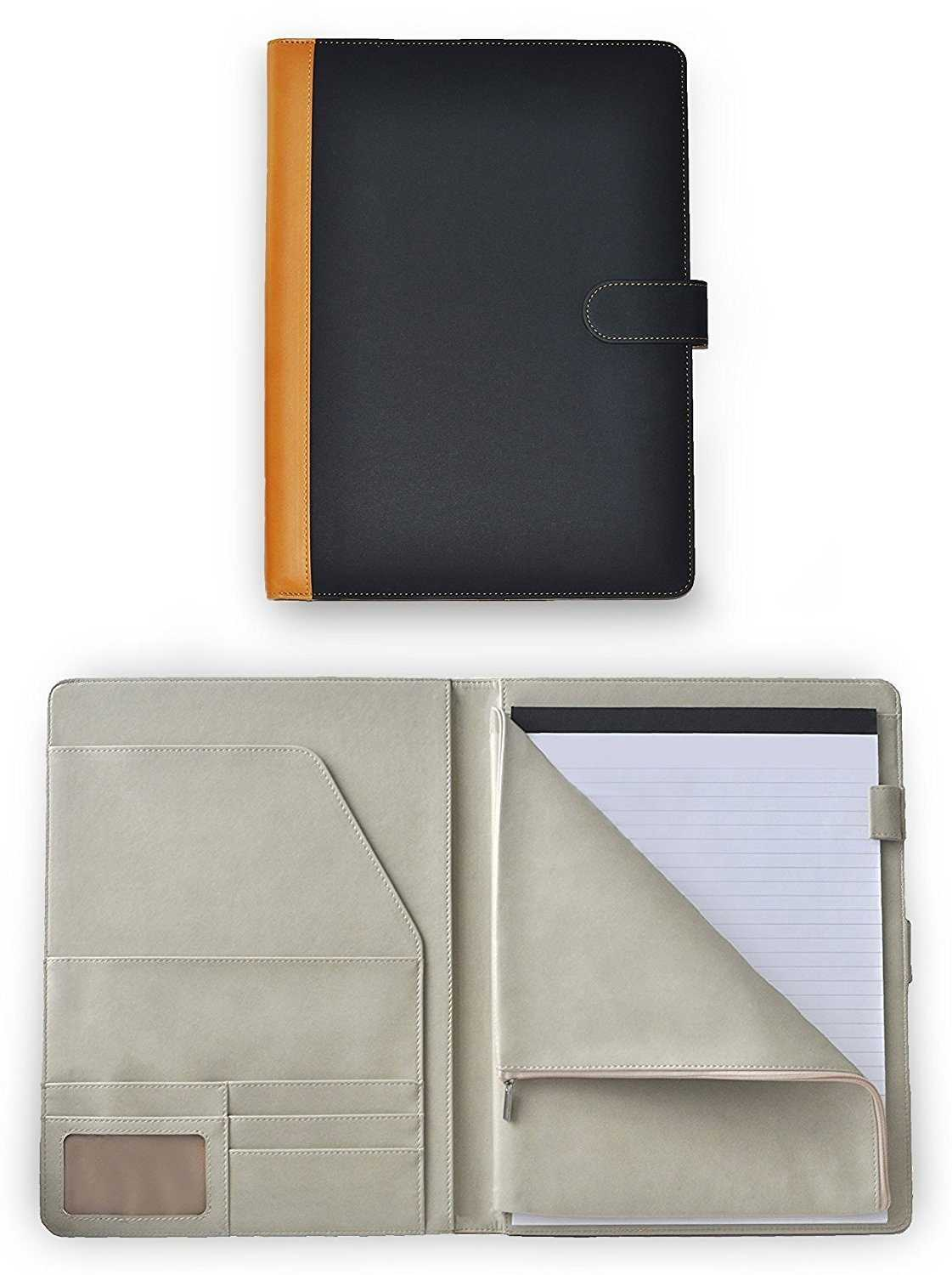 Deluxe Faux Leather Padfolio Portfolio Document Organizer with Zippered Closure Storage Pouch for Tablet PC/iPad/Kindle, Magnetic Closing Strap, Business Card Holders, Legal Size Writing Pad Included