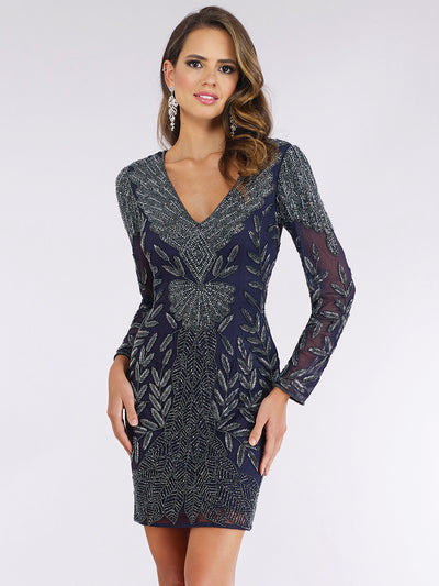 Lara 29376 - Long Sleeve Navy Beaded Cocktail Dress
