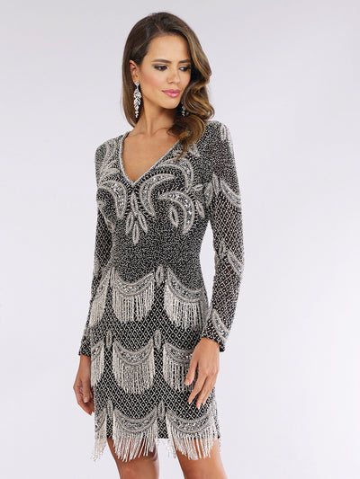 Lara 29377 - Long Sleeve Beaded Fringe Cocktail Dress