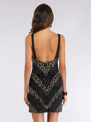 Lara 29379 - Animal Print Beaded Fringe Cocktail