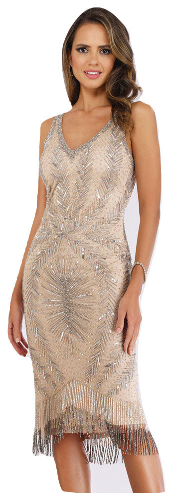 Lara 29392 - Midi Length Beaded Fringe Gown with Straps