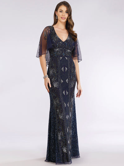 Lara 29393 - Cape Sleeve Beaded Gown