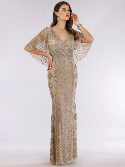 Lara 29397 - Cape Sleeve V-Neck Beaded Gown