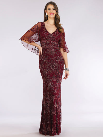 Lara 29398 - Cape Sleeve V-Neck Beaded Gown