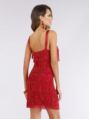 Lara 29488 - beaded fringes short dress