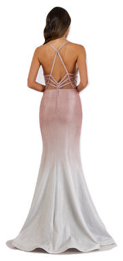 Lara 29493 - Shimmer Fabric Fitted Gown with Low Back