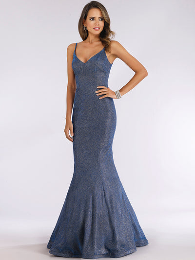 Lara 29494 - Mermaid Shimmer Fabric Gown with V Neckline