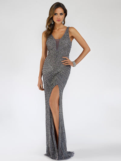 Lara 29528 - Thigh slit long embellished dress