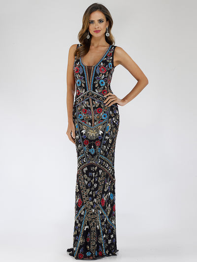 Lara 29529 - Black long multi color embellished dress