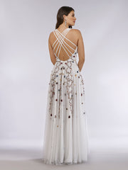 Lara 29544 - Beaded Dress with Open Cross Back and Flowy Skirt
