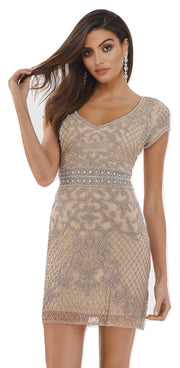 Lara 29571 - Fully Embellished Short Dress
