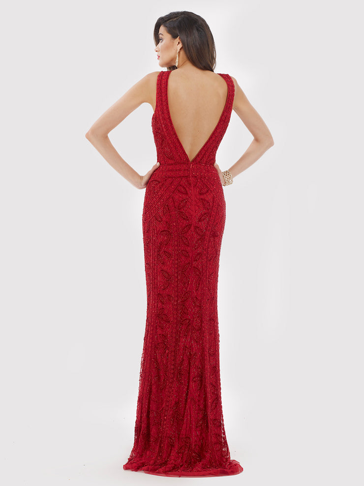 Lara 29574 - Red Long Dress with Back Open.