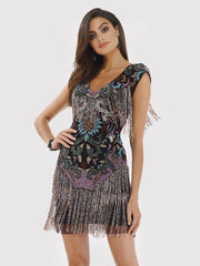 Lara 29578 - Beaded Fringes Short Dress