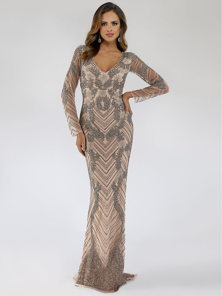 Lara 29596 - long sleeves sheer back long dress