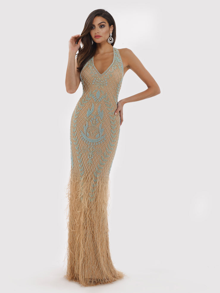 Lara 29598 - Feather Embellished Long Dress with Back Open