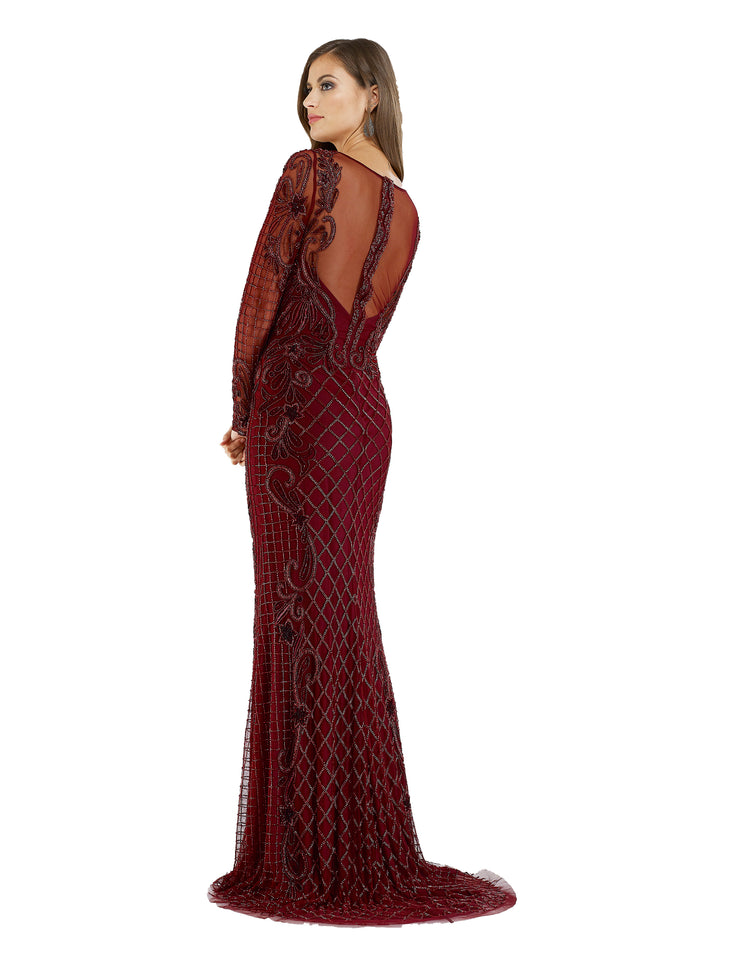 Lara 29603 - Wine sheer v neck long dress