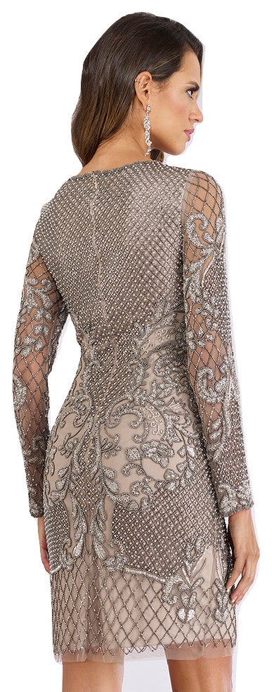 Lara 29610 - long sleeves embellished short dress