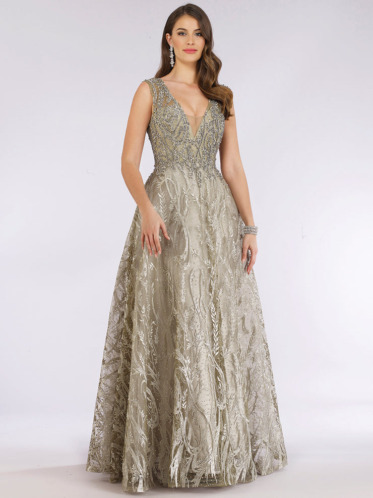 Lara 29626 - Embellished ballgown with v neck