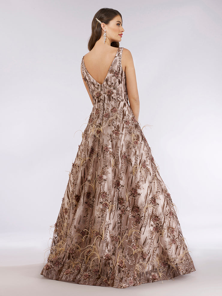 Lara 29630 - Stylish feathers embellished ballgown