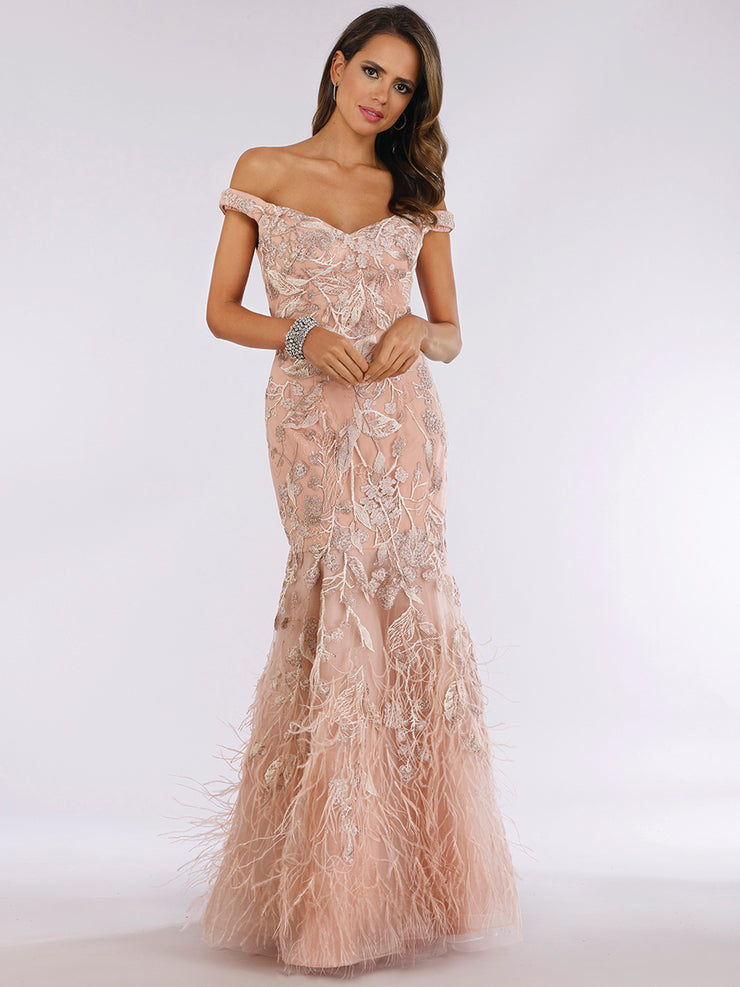 Lara 29632 - feathers embellished off shoulder mermaid dress.