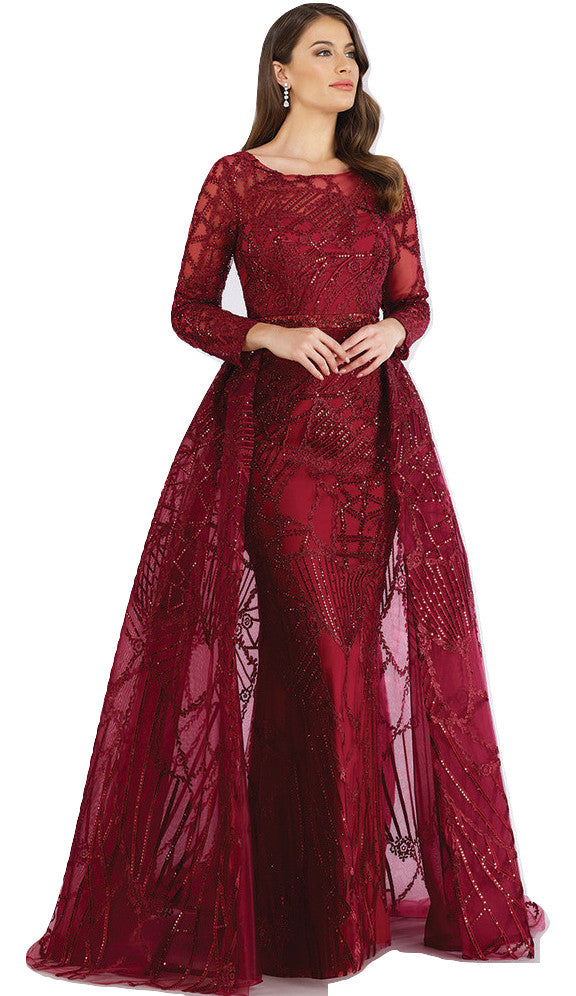 Lara 29633 - Dark red gorgeous long dress with overskirt