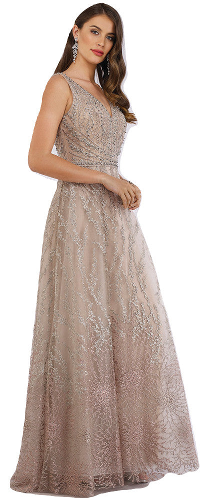 Lara 29635 - Golden rhinestones Ball gown