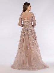 Lara 29636 - Feathers embellished ball gown