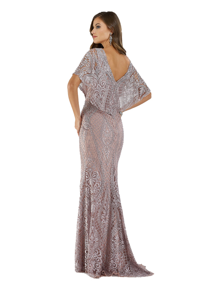 Lara 29673 - cape sleeves mermaid gown