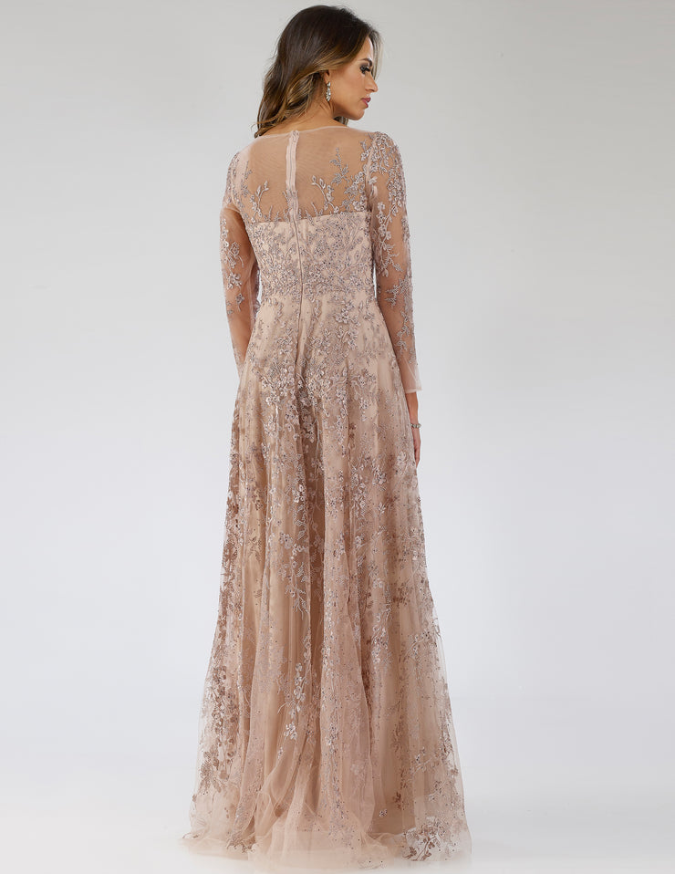 Lara 29677 - Sheer Neck A-line Long Sleeve Gown