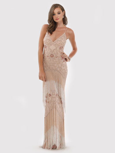 Lara 29709 - Beaded Fringes Long Dress