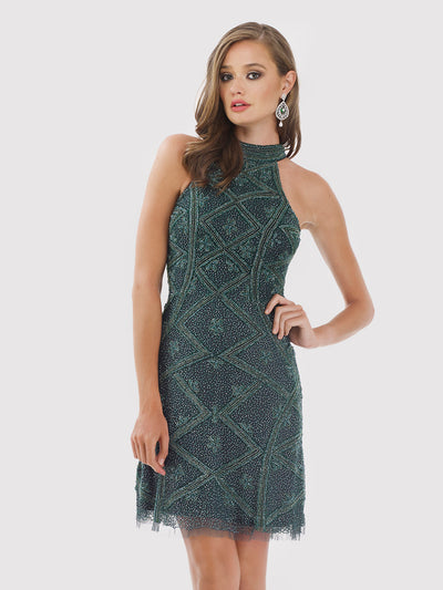 Lara 29715 - Halter Neck Beaded Short Dress