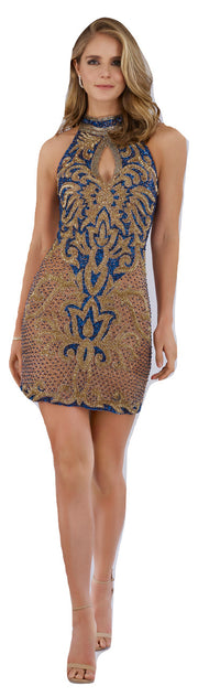 Lara 29743 - Halter Neck Beaded Short Dress