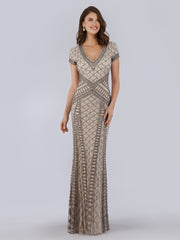 Lara 29746 - Beaded v Neck Long Dress