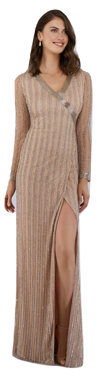 Lara 29747 - Faux wrap v Neck Dress