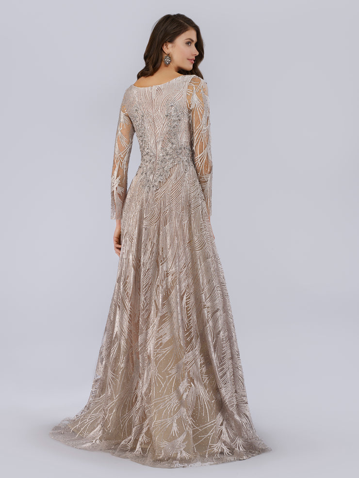 Lara 29753 - Long Sleeves Beaded Ballgown