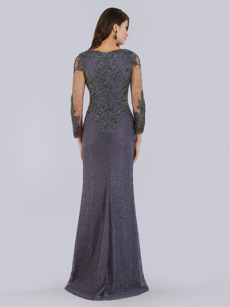 Lara 29757 - Lace Applique Beaded Gown