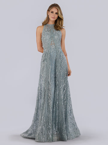 Lara 29760 - V neck lace appliques and beaded gown