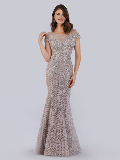 Lara 29763 - Fully Embellished high Neck Mermaid Gown