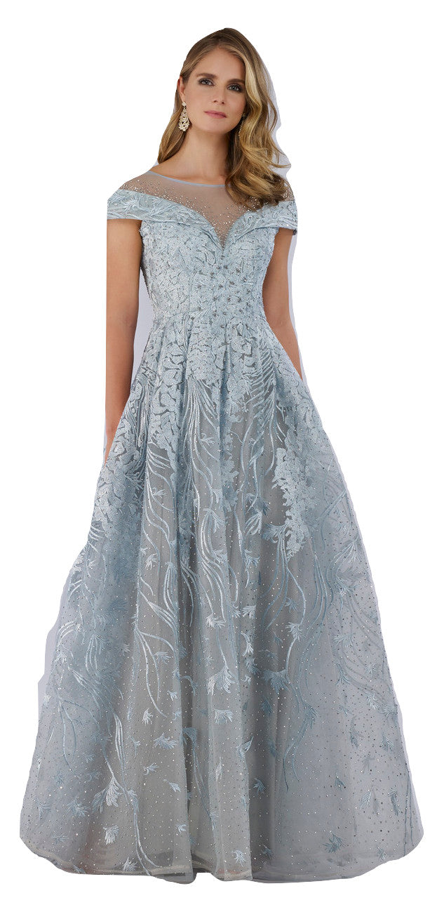 Lara 29768 - Cap Sleeves high Neck Beaded Gown