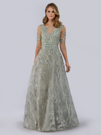 Lara 29769 - High Neck Sheer Sleeves Ball Gown