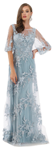 Lara 29772 - Cape Sleeves A-line lace Long Gown