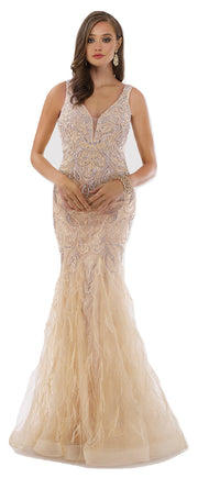 Lara 29775 - Feathers, Rhinestones Embellished Long Mermaid Gown