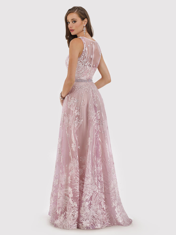 Lara 29784 - V Neck lace Long Gown with Rhinestone Belt