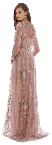 Lara 29788 - Full Sleeves A-line Long Gown