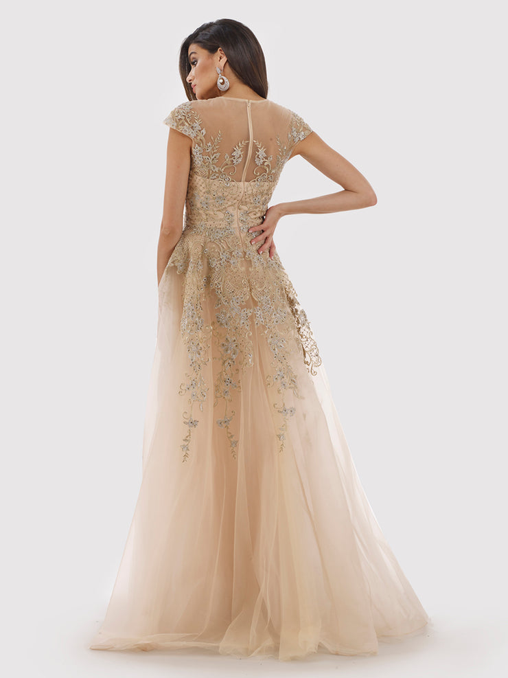 Lara 29793 - high Neck lace Ballgown