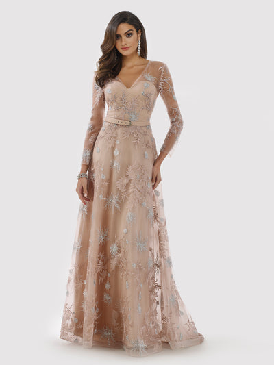 Lara 29796 - Sheer long sleeves beaded A-line dress